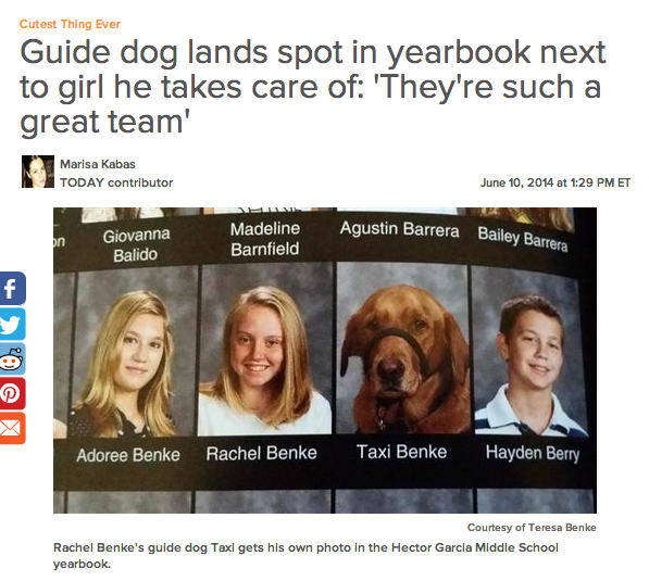 Guide dog lands spot in yearbook next to girl he takes care of: 'They're such a great team' http://t.co/zh62zV6Zdi