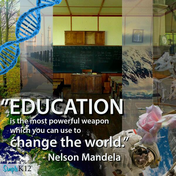 """Education is the most powerful weapon which you can use to change the world."" -Nelson Mandela http://t.co/0tX7znOcEe #sk12"