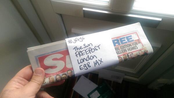 Just returning my copy of The Sun to them via their FREEPOST address... #JFT96 #WorldCup http://t.co/RUPHZqvS1c