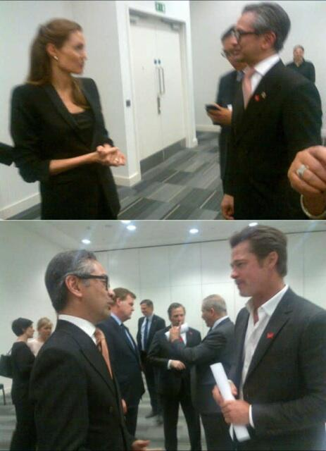 Our foreign minister chatting w Brangelina at the Global Summit to End Sexual Violence in Conflict, in London. #swag http://t.co/HCcidufrUF