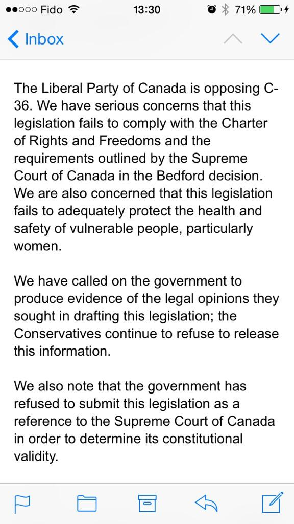 The Liberals have just announced that they are opposing #C36. #Bedford #cdnpoli http://t.co/9cgKSrLqdm
