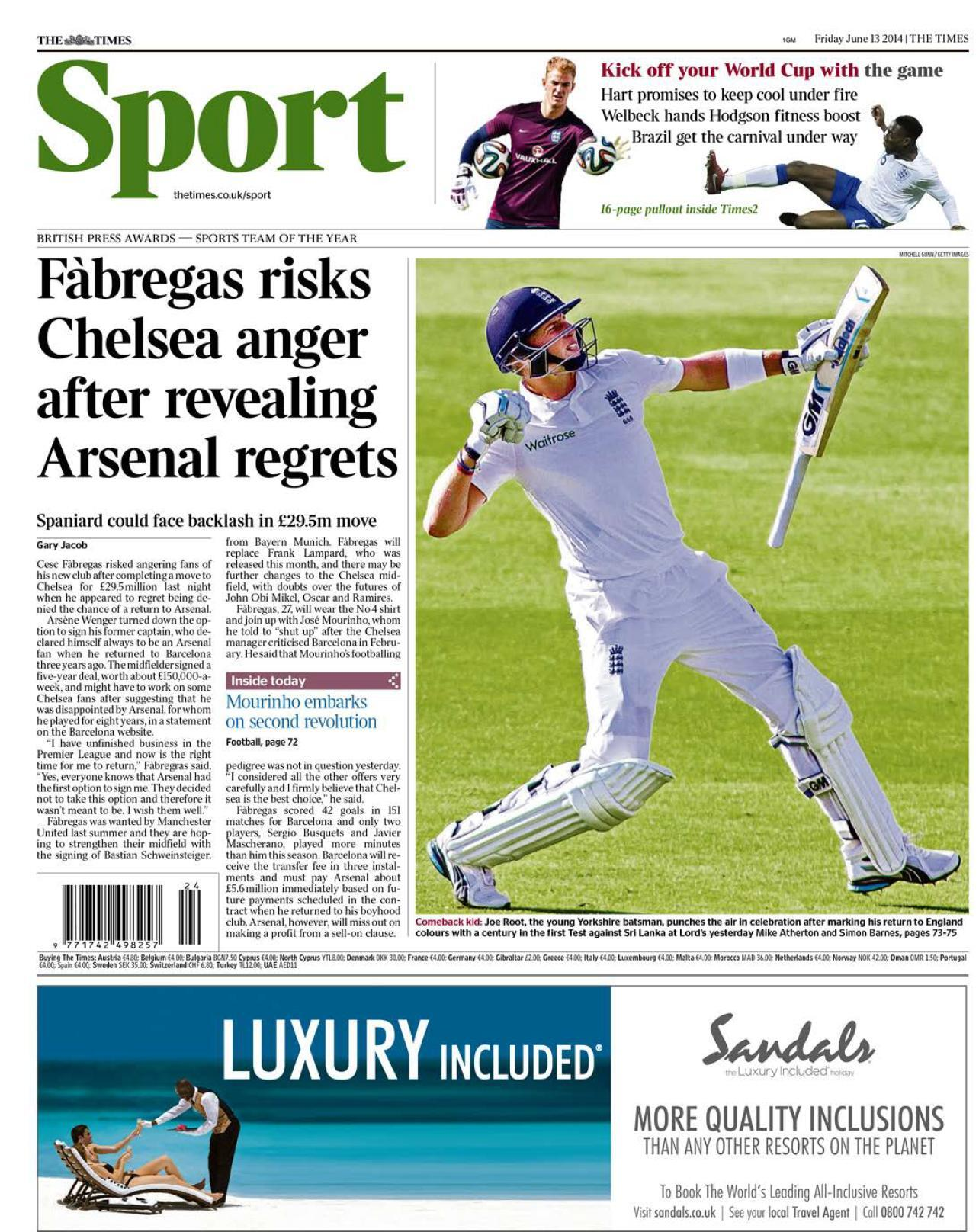 Barcelona have to pay Arsenal £5.6m for selling Cesc Fabregas to Chelsea [The Times]
