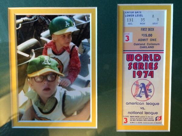 My brother and me at game 3 of the 1974 WS. @Athletics @CSNAthletics @DaleTafoya  @JoeStiglichCSN #Athletics http://t.co/U24YHCuYgN