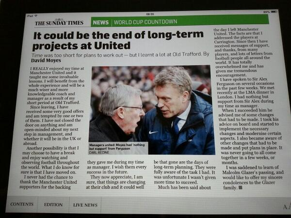 BpB zwiCMAAYWq  David Moyes in The Sunday Times: Long term planning at Man United no longer possible