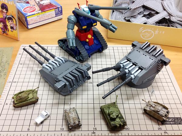 【ヤマト三連装ちゃん:6】#3Dプリンタ の三連装ちゃん、完! 砲身の根本は防水布のイメージで白(これについては非非両論