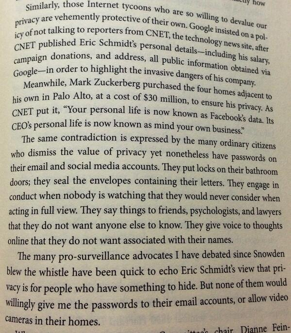 Spot-on from @ggreenwald on hypocrisy of Internet tycoons on privacy. #noplacetohide #sorrybitmorethan140characters http://t.co/IhTSR9oPPk