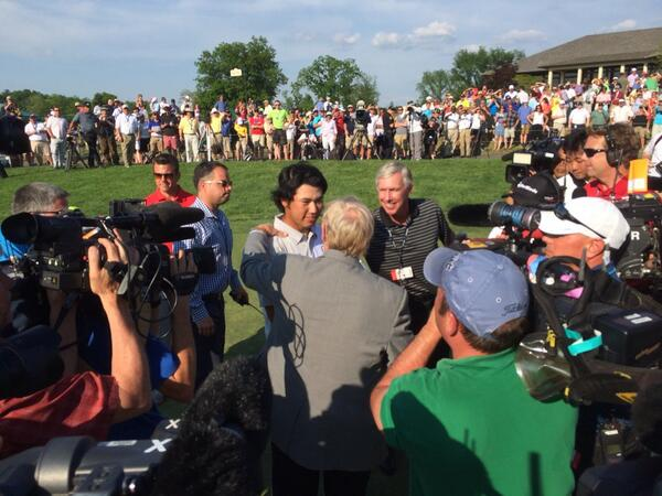 Congratulations to Hideki Matsuyama, the 2014 winner of #theMemorial Tournament and a handshake from @jacknicklaus! http://t.co/NvNOOZZDtL