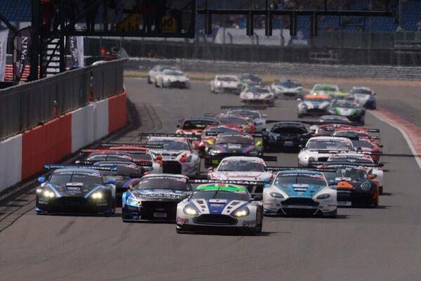 A great shot of the Beechdean, Kinfaun and Oman Racing Team V12 Vantage GT3s at the start of today's @BritishGT race. http://t.co/haCkSqVB9M