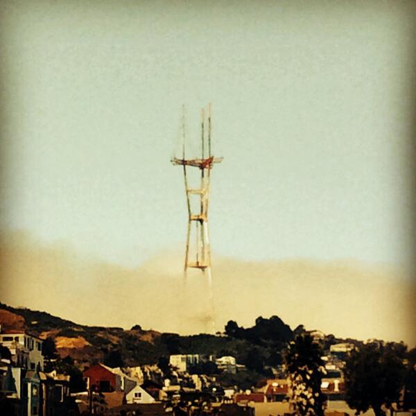 Rising, mighty as a Martian dingleberry remover, @SutroTVTower prongs through @karlthefog. #SF http://t.co/Phs6hVx5GI