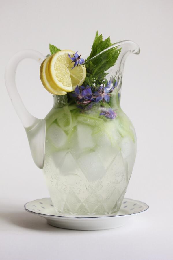 A summer soiree sundowner ~ gin + tonic + cucumber + borage flowers + ginger cordial + mint + lemon + ice. http://t.co/YKjKzwjzRz