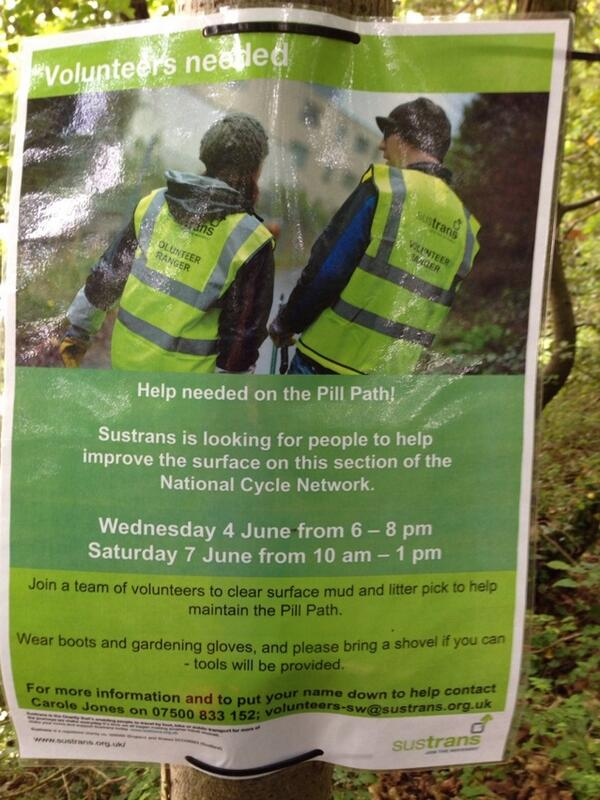 Should anyone fancy improving the Pill-Bristol cycle path surface with @sustrans this week... http://t.co/vmXZd0HUBd