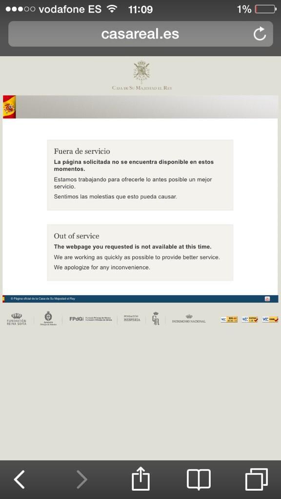 El servidor d la @CasaReal se cae debido a la noticia de la abdicación del #Rey. #fail #ecommerce @ecommaster #online http://t.co/JwVJQqud3J