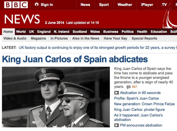 Xose Morais (@XoseMorais): BBC News informa de la abdicación del Rey. E incluye esta foto: http://t.co/mf2tTgpv4p