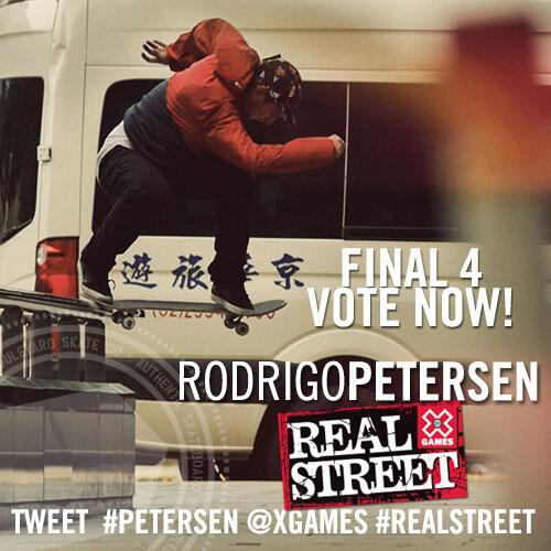 @gerdalone made it to the final round! Tweet daily: #Petersen @Xgames #RealStreet to http://t.co/b4pHUXgLEk … … http://t.co/2ASGNdxyhX