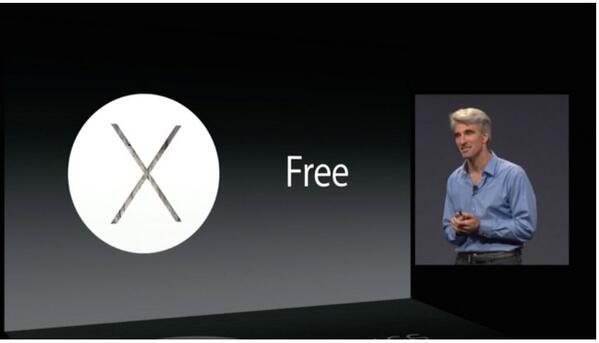 Yosemite is going to be free . #OSX #WWDC14 http://t.co/B5wFBHE45n