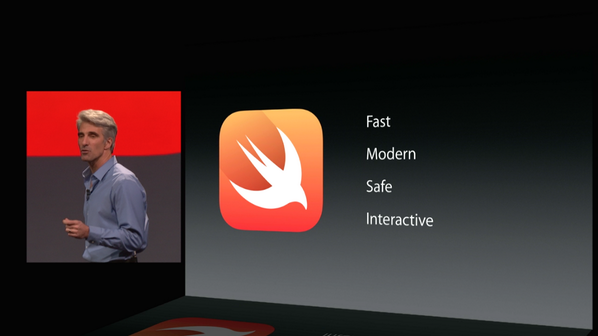 Wow, Apple announces new programming language! #Swift Fast. Modern. Safe. Interactive. #wwdc http://t.co/h3Ie7CM6WS