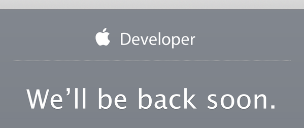 Dev centre is upgrading… #wwdc http://t.co/S17ocqq9rP