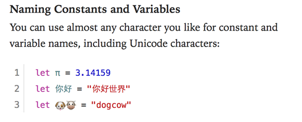 OMG I am so using emoji in variable names. http://t.co/G0Zq5uaS9T via @LorenBednar (From the Swift Language Guide)