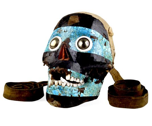 Mask of the Aztec god Texcatlipoca, 'Lord of the Near and Nigh'. Turquoise on a human skull! Coolest artefact ever? http://t.co/a9DNW8WLvG