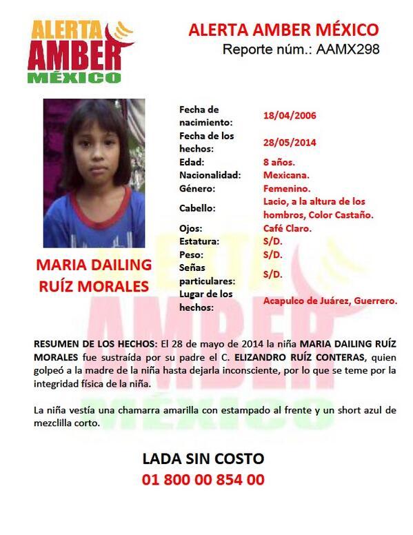 Por favor compartan estos datos y ayuden a difundirlos. Activación de #AlertaAmber por MARÍA DAILING RUÍZ MORALES http://t.co/Ezhz0KWmz9
