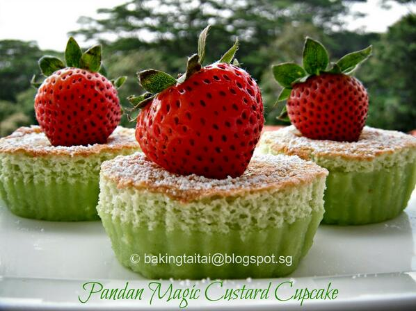 "Beautiful!  ""@AsianFoodCh: Simply alluring Pandan Magic Custard Cupcake #recipe  > http://t.co/lOARZTPDv0 #AFC http://t.co/7H9PS4AcVh"""