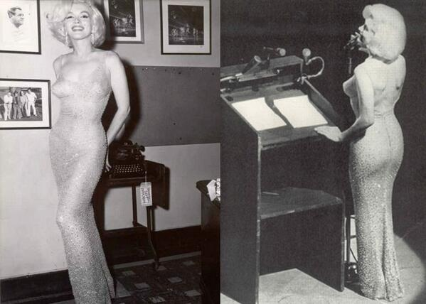 Marilyn had to be sewn into her sheer gown in the 60's. And that was for the President. http://t.co/f8P8a4KEGw