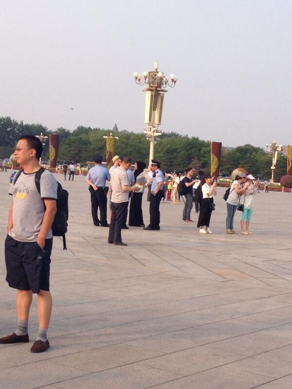 Police in Tiananmen seems to be checking every foreigner's ID now. http://t.co/nE6UGaN1JI