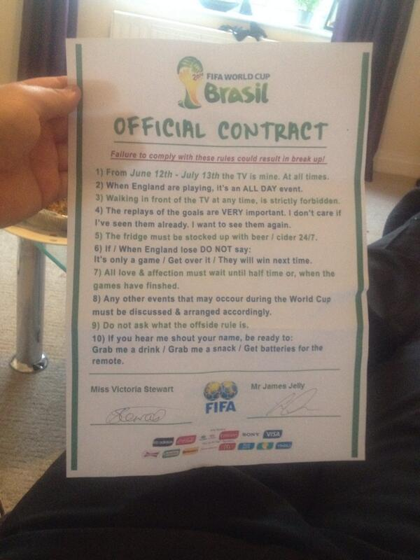 This guy got his girlfriend to sign a world cup contract agreeing to earlier this week twitter user james jelly proudly tweeted out the world cup contract he drafted up for his girlfriend to sign altavistaventures Images