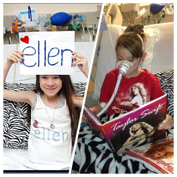 """@TheEllenShow @taylorswift13 plz notice @MissCaley b4 it's too late she is considered """"end stage cystic fibrosis"""" http://t.co/jPtegnufqD"""