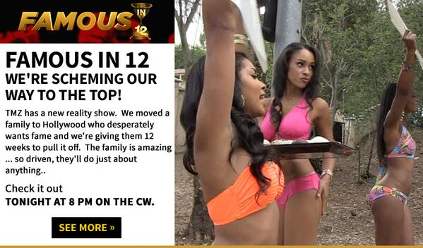 New show tonight at 8 pm on cw! Family moves to Hollywood & tries to become famous in 12 wks Sexy girls! Famous in 12 http://t.co/nJQ1IMAvd6