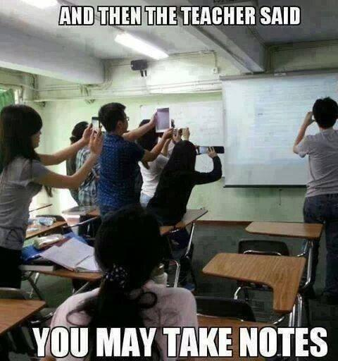 And then the teacher said… You may take notes. http://t.co/4xYBAKi2jN