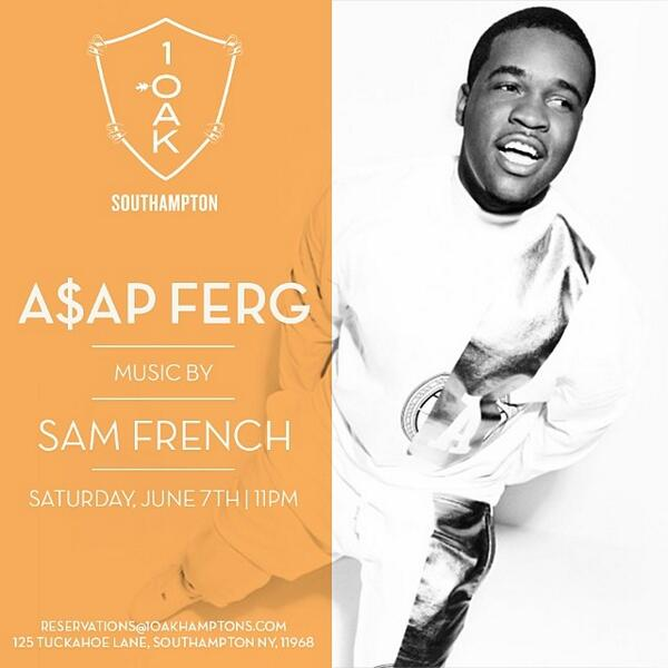 Tonite @1OAKSOUTHAMPTON Has @ASAPferg Hosting! music by @DJSamFrench http://t.co/0cKkQTLxdc see @jacquelineakiva & @Ronnie_Madra 4 Info! #RT