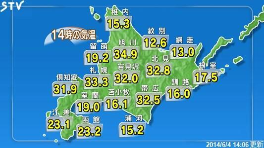 北海道は広いですね。大雨警報が発令されている地域もございますので、暑さに加えてご注意ください。http://t.co/Zwgvn2auOO #stv http://t.co/0c58kFpOoE