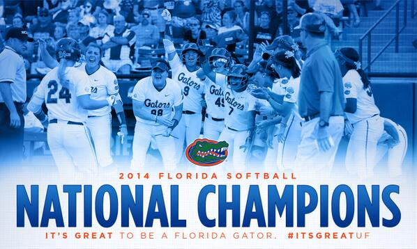 Gator Softball - The 2014 National Champions! #WCWS #ItsGreatUF cc @GatorZoneSBall http://t.co/oxD71m4afP