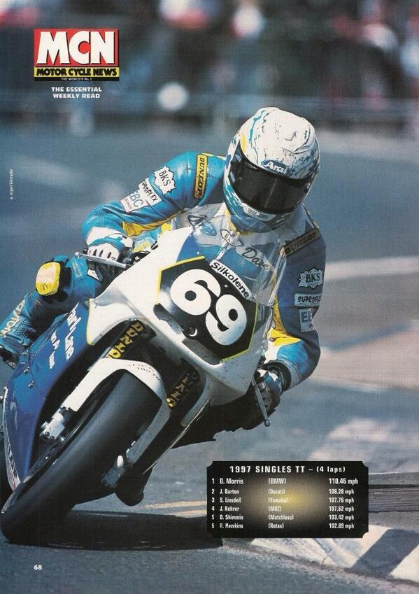 RT @ChrysalisRacing: #OnThisDay @KeithHuewen Pls RT: Dave Morris wins the 1997 Singles TT, the 1st #BMW solo rider to win since 1939. http://t.co/d1PBGHHhI6