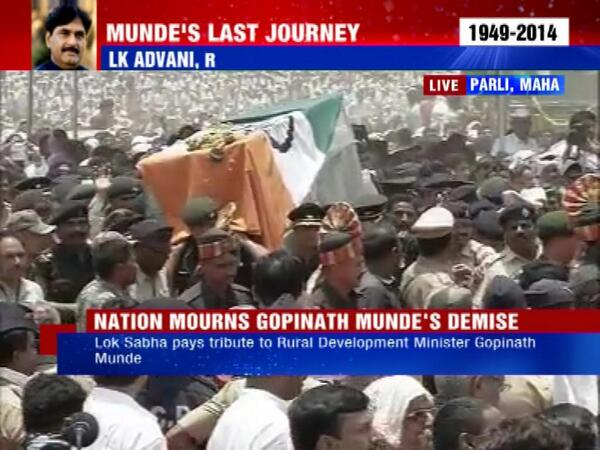 Gopinath Munde's body arrives in Parli in Beed district of Maharashtra