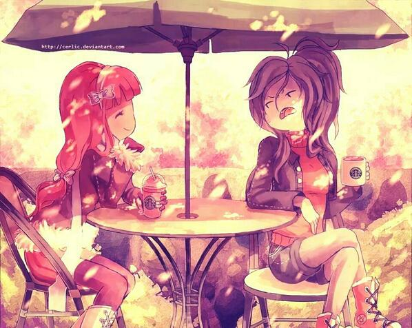 Princess Bubblegum and Marceline in Starbucks :D  (Nice one to the artist!) http://t.co/H6O0Tz5Sdc