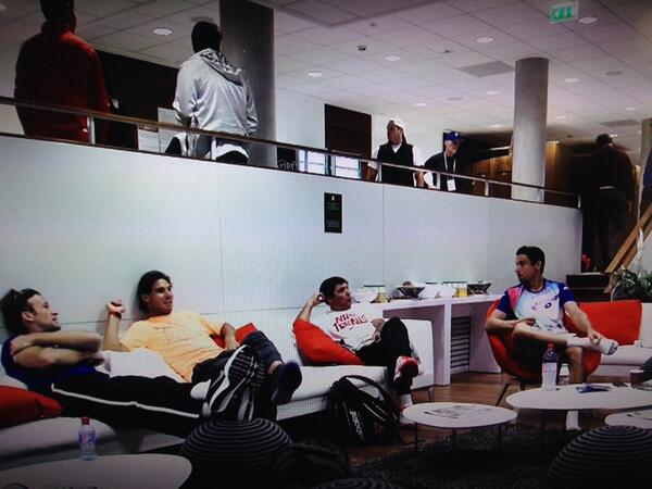 ESPN showed Carlos Moya, Rafa, Uncle Toni & Ferrer hanging out in the lounge, eating, laughing. #Waitingtoplay #rg14 http://t.co/05v5G0w3wM