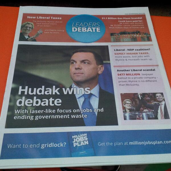wow. MT @mattgallowaycbc NDP, PCs buy front pages post-debate. That line between journalism and advertising... http://t.co/Uq2nnsJl56