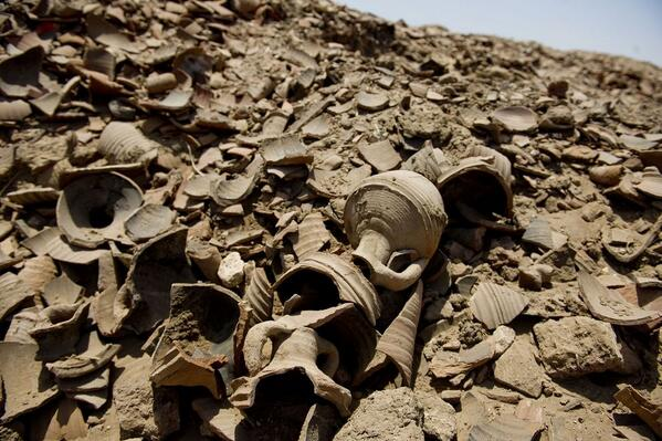 Broken pottery litters the ground. This is the result of looting at the site of Antinopolis, Egypt. Pic: Ann Hermes http://t.co/JOa1fXB8oz