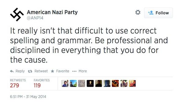 There are LITERAL grammar nazis -- nazis who care about grammar -- on Twitter. http://t.co/jBqlDa4cSv http://t.co/ybZwBWuLYY
