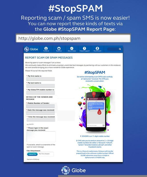 Reporting spam/scam texts just got easier! Log it at http://t.co/Eyarn1cCA3 now & we'll take care of it for you. http://t.co/sskgDFXXnb