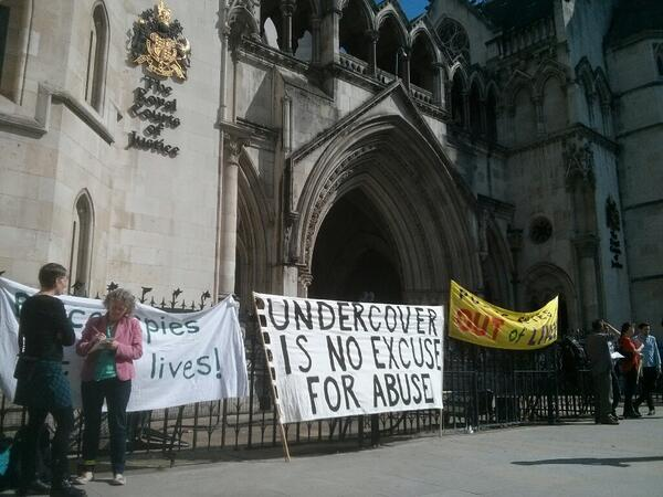 Undercover Is No Excuse for Abuse - #spycops protest outside the high court http://t.co/9YluuO0gWT