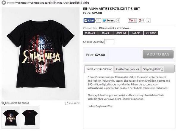 You can purchase Rihanna's Charity T-Shirt here: http://t.co/v7YeMr6g60 http://t.co/fk2eDm6CrK