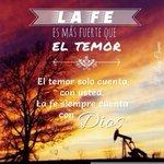 📌La #fe es más fuerte que el temor. El temor solo cuenta con usted, la fe siempre cuenta con Dios!! http://t.co/tH0CFr3PCB