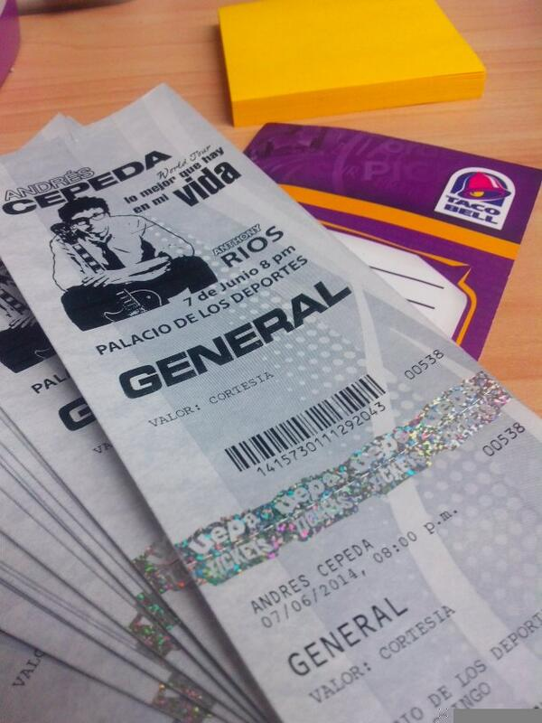 1. Tenemos boletas para #AndresCepeda quien quiere ir????? http://t.co/eUhrDZeoe2