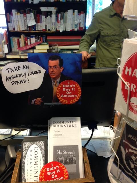 Pick up an absurdly large sticker from @CommunityBkstr and help #cutdowntheamazon w/ @stephenathome: http://t.co/P0Y6m99SkE
