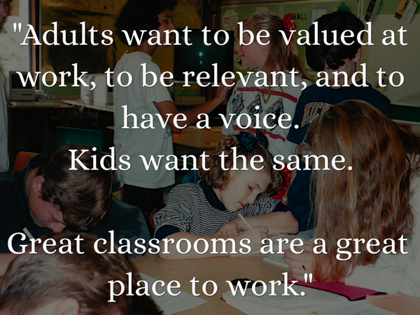 """Great classrooms are a great place to work."" More great quotes from @jeffcharbonneau: http://t.co/m5UTk0ZZg8 http://t.co/MyVenePtw6"