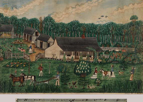 For Queensland Day, lets go back to 1876 with CGS Hirst's watercolour 'Erin's home, Boggo Queensland' http://t.co/W1X88WIggB