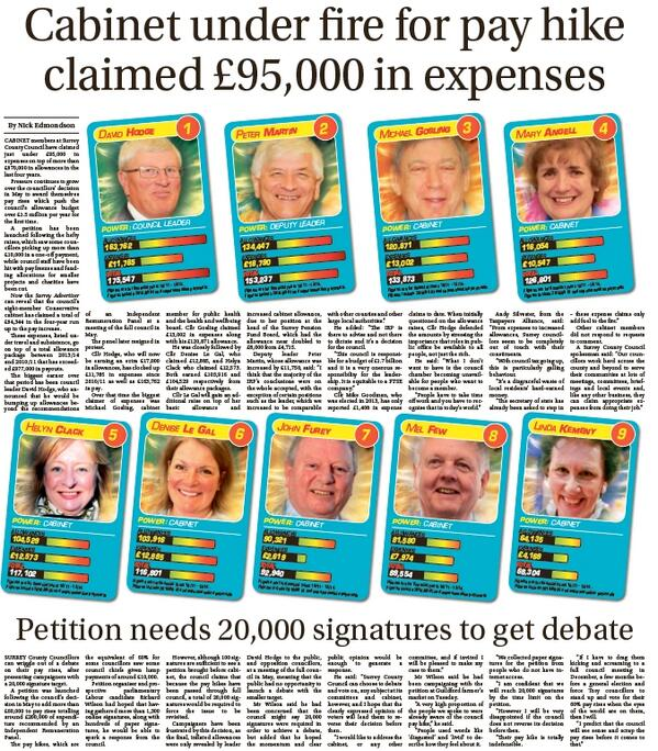 Quiet day? Cut out our county council cards to see who has racked up the most allowances and expenses. Today's paper http://t.co/9UCIEToHbp